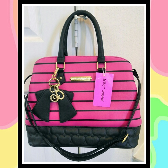 NWT Lg Hot Pink BETSEY JOHNSON Bowling Bag Purse 9b48675443d9f